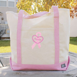 Personalized Breast Cancer Awareness Pink Canvas Tote Bag