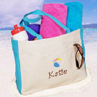 Embroidered Beach Ball Tote Bag