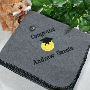 Embroidered Graduation Throw Blankets