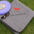 Embroidered Family Picnic Throw Blanket