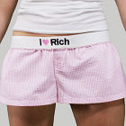 Embroidered I Love You Ladies Cotton Shorts