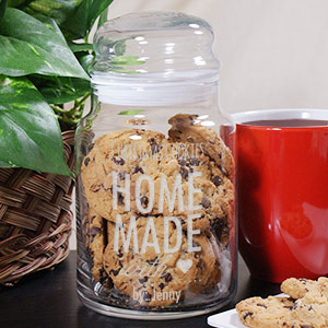 Engraved Christmas Cookie Glass Jar