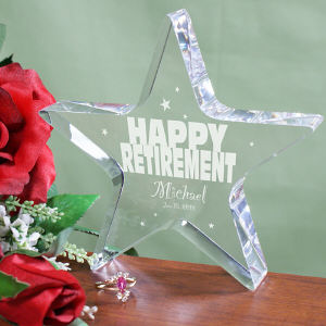 Engraved Happy Retirement Star Keepsake