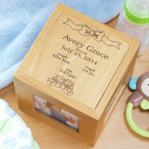 Personalized Baby Photo Cube - In the Beginning Design