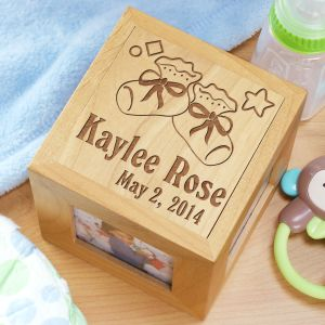 Engraved New Baby Booties Photo Cube