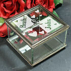 Engraved Couples Glass Jewelry Box