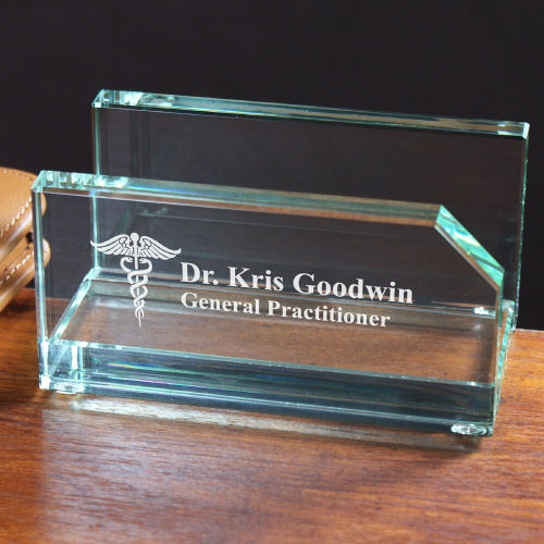 Engraved Medical Professional Business Card Holder | Business Card Holder for Doctors