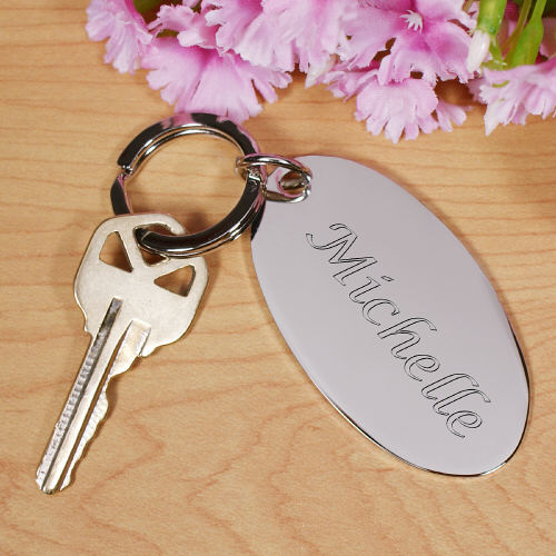 Engraved Name Silver Keychain
