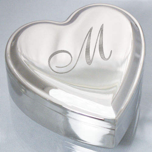 Engraved Initial Silver Heart Jewelry Box