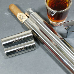 Engraved Stainless Steel Cigar & Flask Case