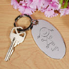 Engraved Stick Figure Silver Key Chain