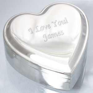 Engraved Any Message Silver Heart Jewelry Box