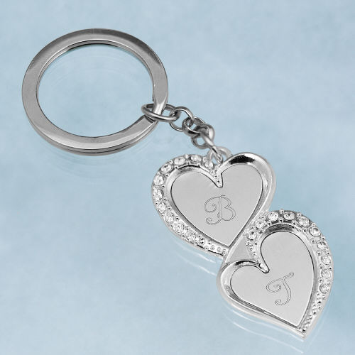 Engraved Double Heart Key Chain | Personalized Valentine's Day Gifts