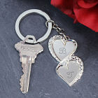 Engraved Double Heart Key Chain
