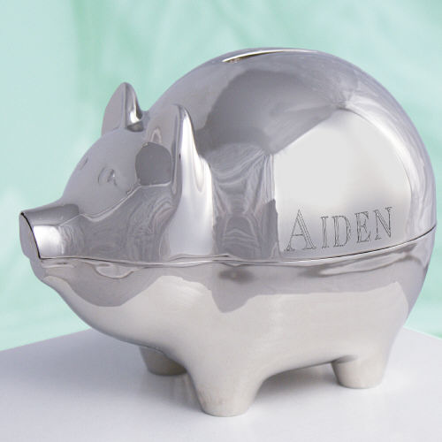 Personalized Silver Piggy Bank | Engraved Banks For Kids
