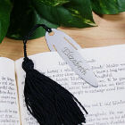Engraved Silver Bookmark with Black Tassels