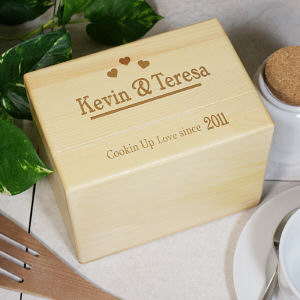 Engraved Cookin Up Love Recipe Box | Recipe Box And Cards