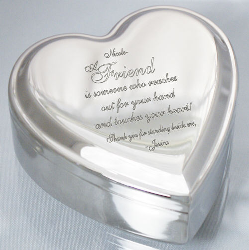 Engraved Friend Heart Jewelry Box | Personalized Keepsake Box
