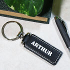 Engraved Black Leather Name or Initial Keychain