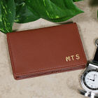 Engraved Tan Leather Business Card Holder Wallet L26580