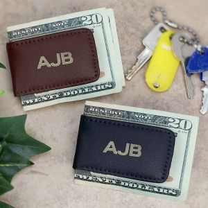 Personalized Brown Leather Initial Money Clip
