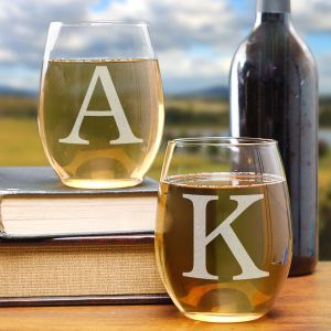 Couples Engraved Stemless Wine Glass Set