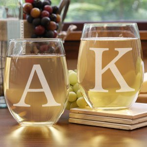 Couples Engraved Stemless Wine Glass Set | Romantic Home