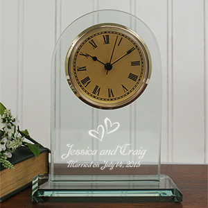 Engraved Glass Wedding Clock L587119