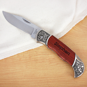 Engraved Rosewood DecoGrip Hunting Knife