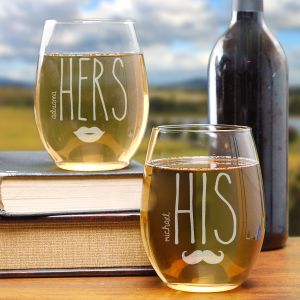 Engraved Couples Stemless Wine Glass Set L729895S2
