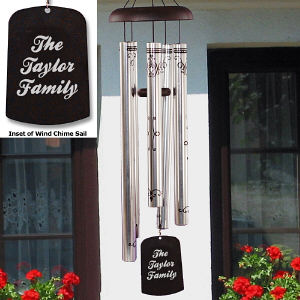 Engraved Our Family Monogram Wind Chimes
