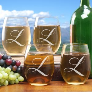 Engraved Initial Stemless Wine Glass Set