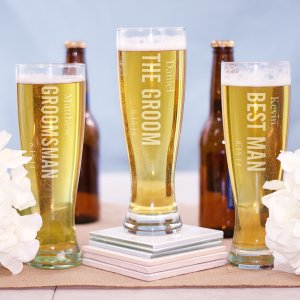 Engraved Wedding Party Pilsner Glass