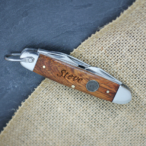 Engraved Brown Wood Camp Knife | Engraved Knives For Groomsmen