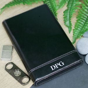 Personalized Black Leather Cigar Case