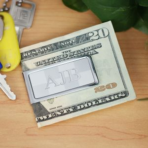 Engraved Checkerboard Money Clip