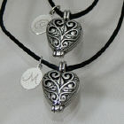 Engraved Silver Filigree Heart Locket Set