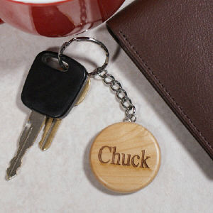 Engraved Name Wood Round Keychain