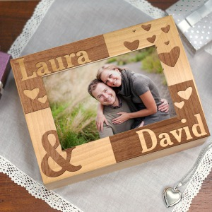 Engraved Couples Photo Keepsake Box