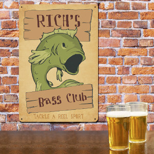 Personalized Bass Club Fishing Metal Wall Sign