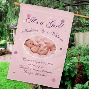 Personalized Newborn Baby Girl Announcement House Flag