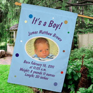 Personalized Newborn Baby Boy Announcement House Flag