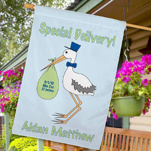 Personalized Special Delivery Baby Boy Announcement House Flag