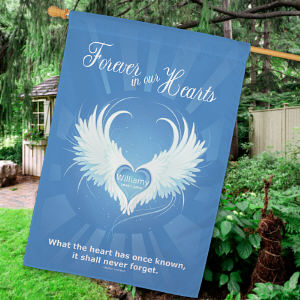 Printed Forever In Our Hearts Memorial House Flag