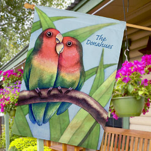 Personalized Love Birds House Flag 83039072L