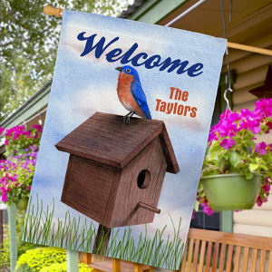 Personalized Blue Bird Welcome House Flag