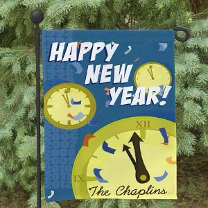 Personalized Happy New Year Garden Flag