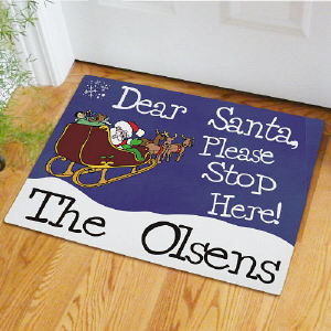 Personalized Santa Stop Here Doormat