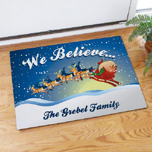 We Believe in Christmas Personalized Doormat