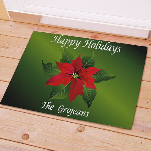Poinsettia Holiday Personalized Doormat | Personalized Christmas Doormats